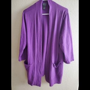 Chicos Additions Purple Open Front Cardigan